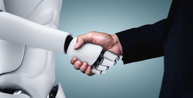 Apretón de manos de robot humanoide para colaborar en el desarrollo tecnológico futuro por parte del cerebro pensante de ia