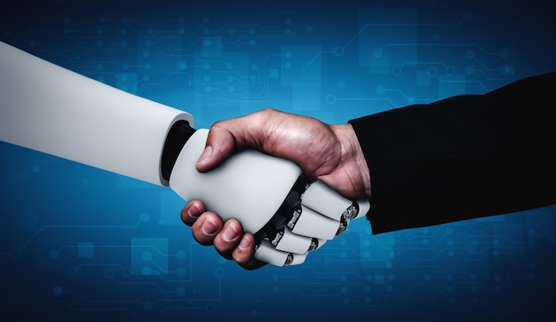 Apretón de manos de robot humanoide de renderizado 3d para colaborar con la tecnología futura