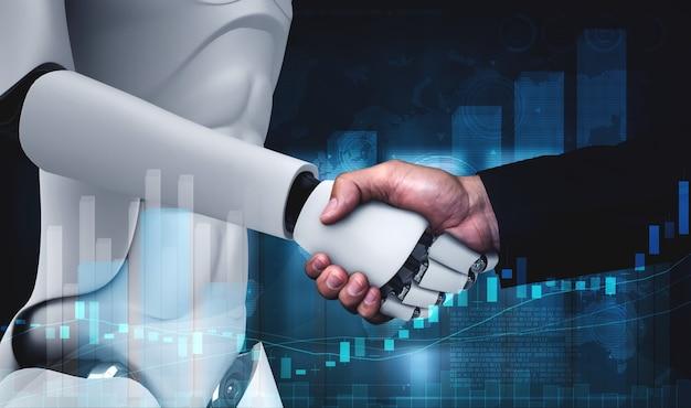 Apretón de manos de robot humanoide de renderizado 3d con gráfico de cotización bursátil