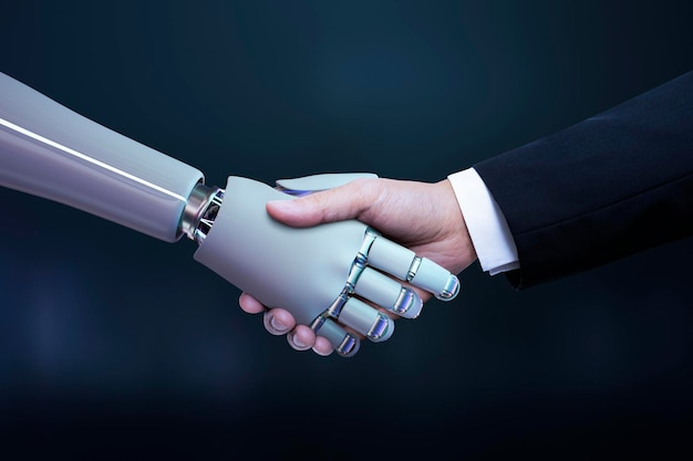 Apretón de manos de robot de mano de negocios, transformación digital de inteligencia artificial