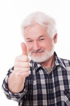 Apuesto anciano con barba gris