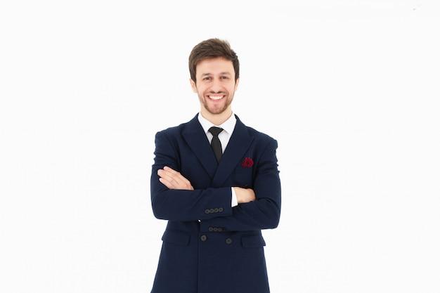 Apuesto hombre de negocios y fondo blanco aislado