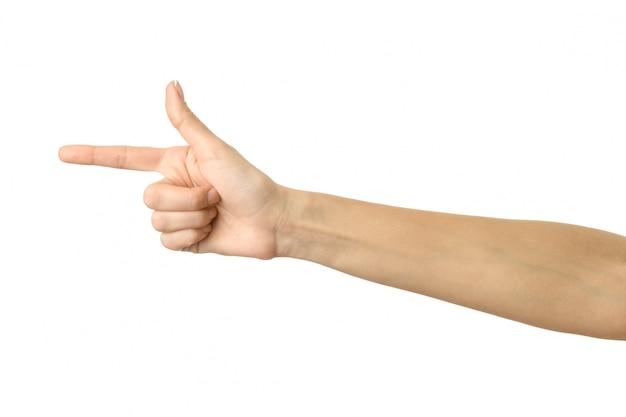 Apuntando a la izquierda. mujer mano gesticular aislado en blanco