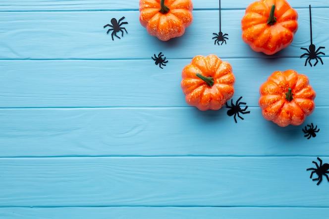 Arañas y calabazas de halloween de miedo