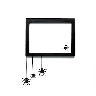 Arañas de halloween con marco de maqueta