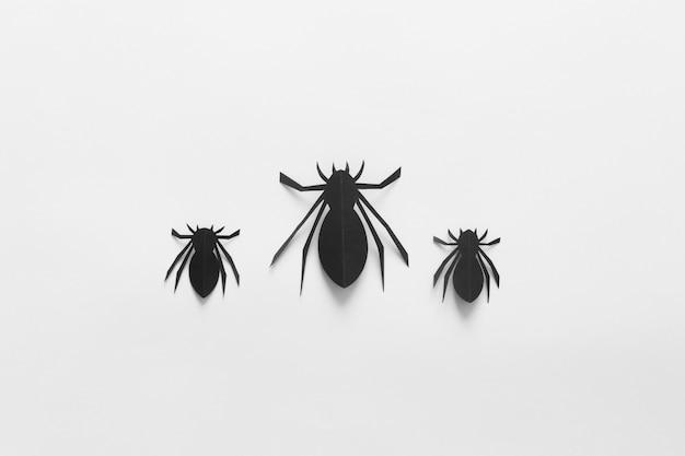 Arañas de papel sobre un fondo blanco