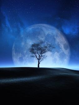 Árbol 3d contra un cielo nocturno de luna.