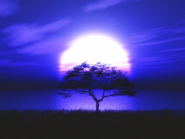 Árbol en 3d silueta árbol contra un paisaje iluminado por la luna