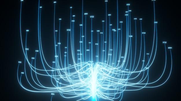 Árbol en crecimiento que transmite datos de computación en la nube de internet