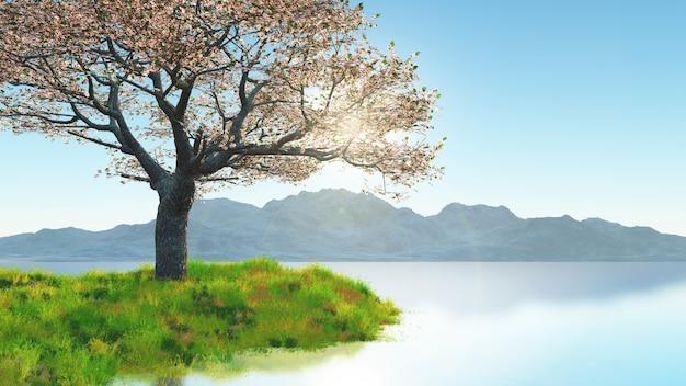 Árbol de flor de cerezo 3d en la orilla de hierba contra el paisaje de montaña
