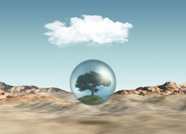 Árbol en globo contra una escena del desierto