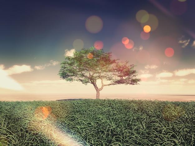 Árbol en mitad de un campo