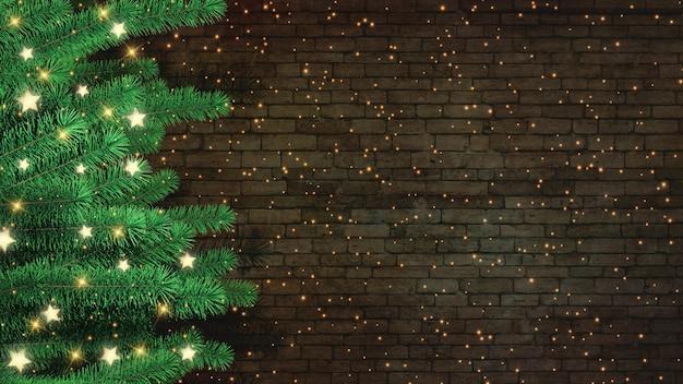 Árbol de navidad 3d contra un fondo de pared de ladrillo
