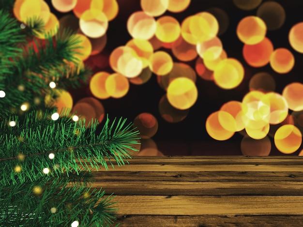 Árbol de navidad 3d contra una mesa de madera y luces bokeh