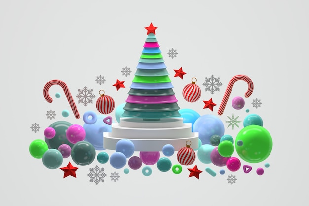 Árbol de navidad brillante geométrico con decoraciones