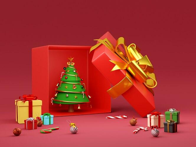 Árbol de navidad en caja de regalo con adorno navideño