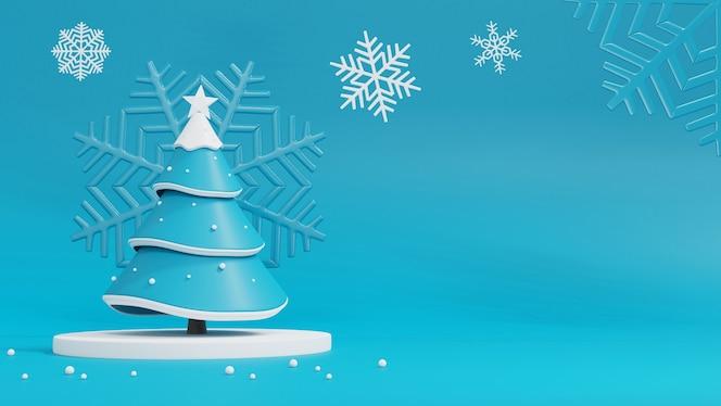Árbol de navidad y caja de regalo en azul