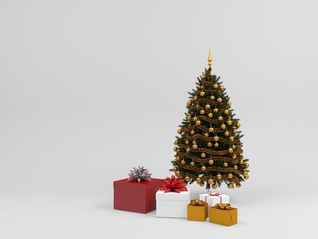 Árbol de navidad caja de regalo fondo pastel