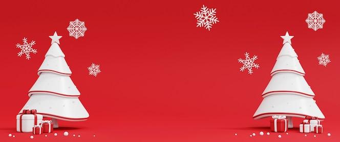 Árbol de navidad y caja de regalo en rojo