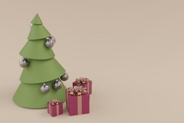 Árbol de navidad con decoraciones blancas y 3 cajas de regalo, concepto creativo mínimo. composición horizontal renderizada en 3d.
