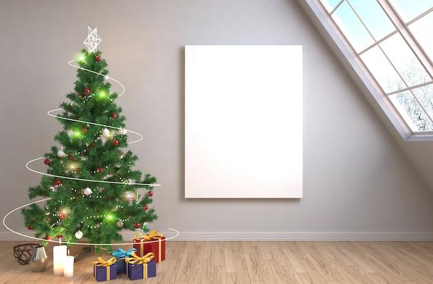 Árbol de navidad con decoraciones en la sala de estar representa la ilustración