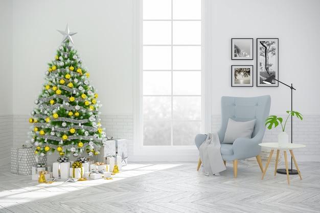 árbol de navidad decorar en escandinavia interior de la sala de estar
