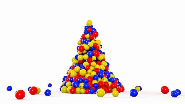 Árbol de navidad hecho de bolas de colores sobre un fondo blanco. concepto de año nuevo. ilustración de renderizado 3d.