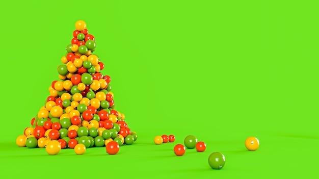 Árbol de navidad hecho de bolas de colores sobre un fondo verde. concepto de año nuevo. ilustración de renderizado 3d.