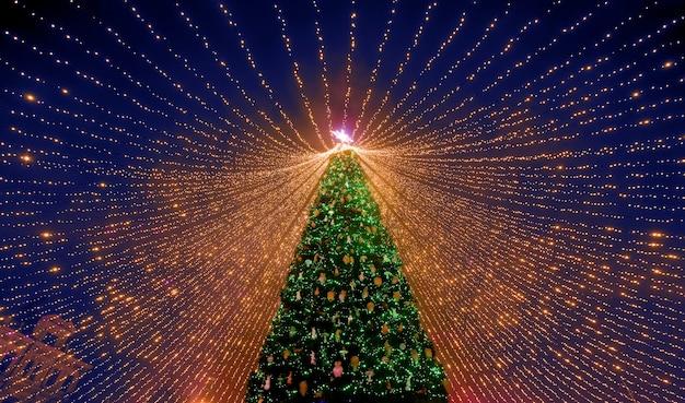 Árbol de navidad. el principal árbol de navidad de ucrania en la plaza sofía. vista desde abajo.