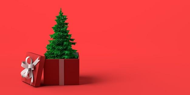 Árbol de navidad que sale de la caja de regalo. copie el espacio. ilustración 3d.