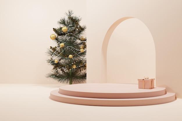 Un árbol de navidad y un regalo con escenario de círculo de oro rosa suave