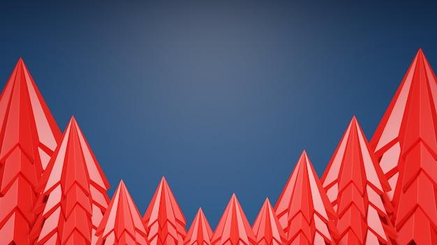 Árbol de navidad rojo con fondo azul clásico y espacio de copia. feliz navidad y próspero año nuevo concepto. representación 3d