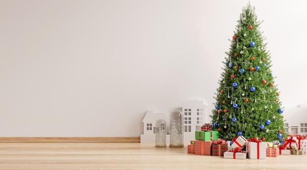 Árbol de navidad en la sala de estar, render 3d