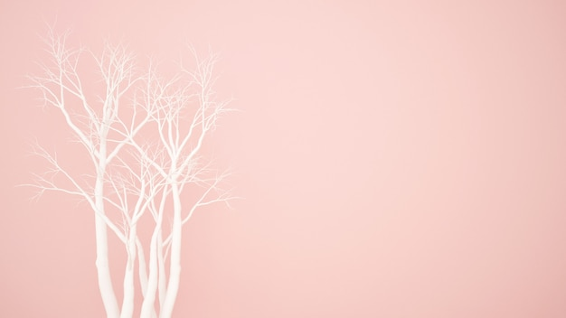Árbol seco blanco sobre fondo rosa