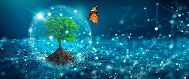 Árbol con suelo green computing tecnología verde green it csr y concepto de ética de ti