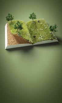 Árboles abstractos y tierra en libro con espacio de copia