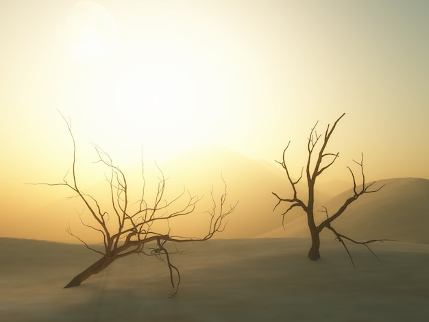 Árboles muertos en 3d en el paisaje del desierto