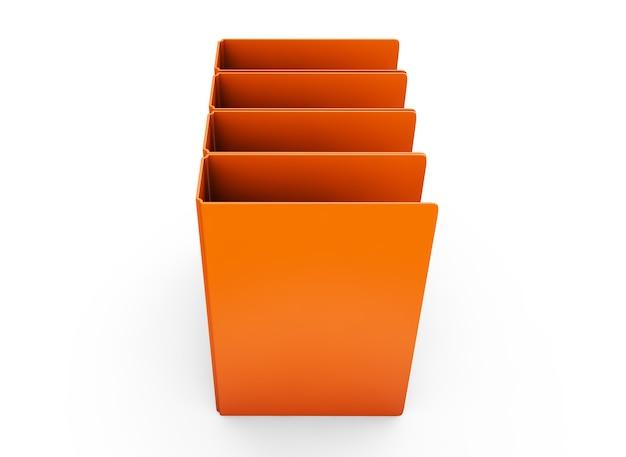 Archivo de carpeta de oficina multicolor composición horizontal aislado sobre fondo blanco 3d render