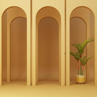 Arco amarillo minimalista con plantas.