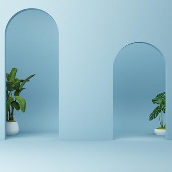Arco azul minimalista con plantas.
