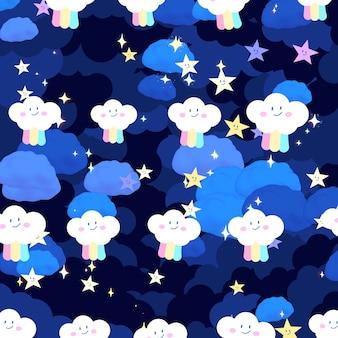 Arco iris doodle cielo con patrón de destellos