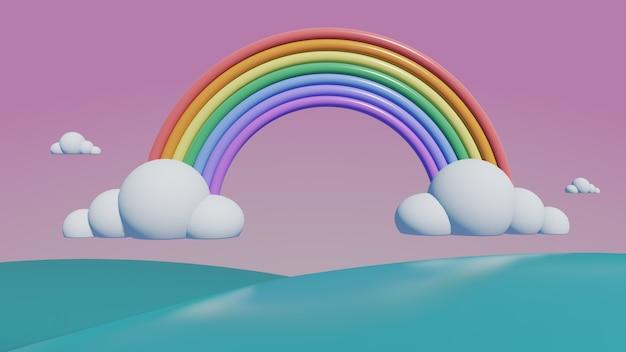 Arco iris con montañas pastel, render 3d