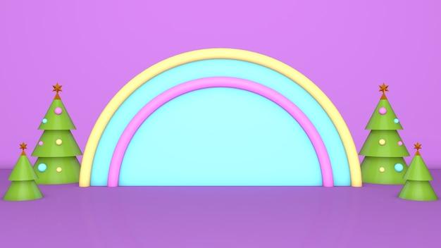Arco iris rosa 3d navidad