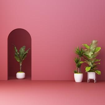 Arco rojo minimalista con plantas.