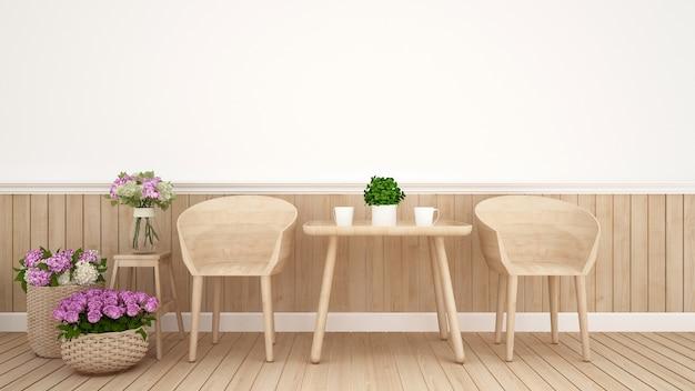 área de comedor en cafetería o decoración de restaurante flor