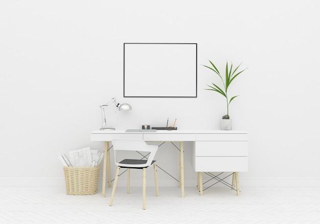Área de escritorio de worskspace hogar en el marco horizontal de la habitación escandinava
