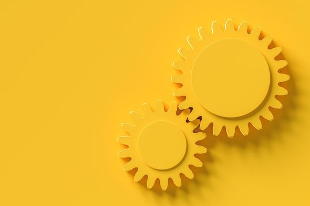 El área intermedia del engranaje ingresa para su texto fondo amarillo, concepto mínimo