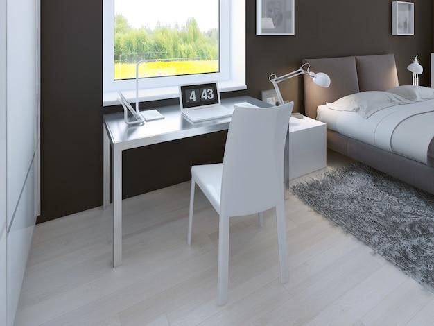 Área de trabajo en dormitorio minimalista
