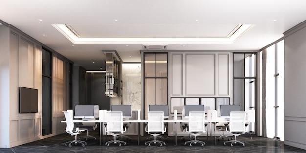 Área de trabajo de oficina de estilo clásico moderno con piso de mármol negro y representación 3d de escritorio blanco