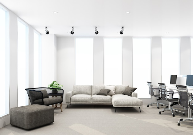 Área de trabajo en la oficina moderna con piso de alfombra y área de estar para tomar un descanso. representación 3d interior